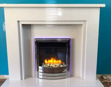 Marble Fireplace with Electric Fire and LED Backlighting