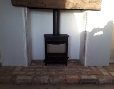 Woodburner Complete With Beam and Existing Brick Hearth