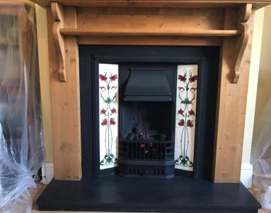 Tiled Cast Iron Fire complete with Wooden Mantle