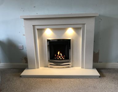 Marble Fireplace Complete Downlights Installed with Gas Fire