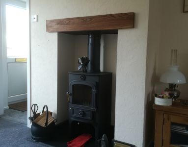 Clearview Stove with Beam and Granite Hearth